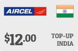 $12.00 Aircel India Prepaid Wireless Top-Up