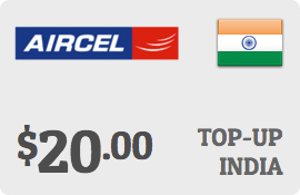 $20.00 Aircel India Prepaid Wireless Top-Up