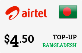$4.50 Airtel Bangladesh Prepaid Wireless Top-Up