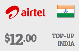 $12.00 Bharti Airtel India Prepaid Wireless Top-Up