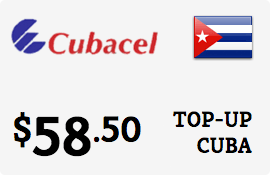 $58.50 Cubacel Cuba Prepaid Wireless Top-Up