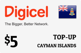 $5.00 Digicel Cayman Islands Prepaid Wireless Top-Up