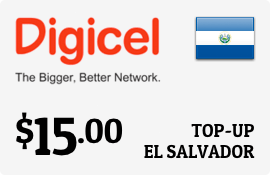 $15.00 Digicel El Salvador Prepaid Wireless Top-Up