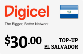 $30.00 Digicel El Salvador Prepaid Wireless Top-Up