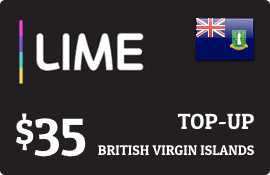 $35.00 Lime British Virgin Islands Prepaid Wireless Top-Up
