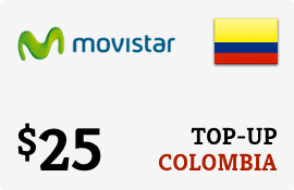 $25.00 Movistar Colombia Prepaid Wireless Top-Up