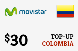 $30.00 Movistar Colombia Prepaid Wireless Top-Up