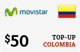 $50.00 Movistar Colombia Prepaid Wireless Top-Up