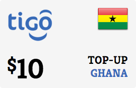 $10.00 Tigo Ghana Prepaid Wireless Top-Up