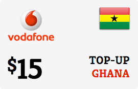 $15.00 Vodafone Ghana Prepaid Wireless Top-Up