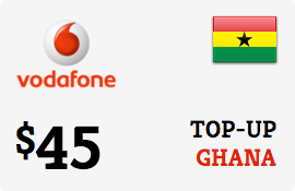 $45.00 Vodafone Ghana Prepaid Wireless Top-Up