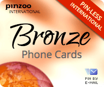 $10.0000 PINZOO Bronze International & Domestic Phone Cards & Calling Cards