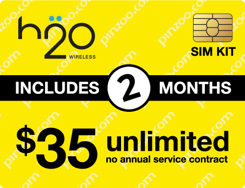 $80.00 H2O Wireless® Prepaid Wireless SIM Cards