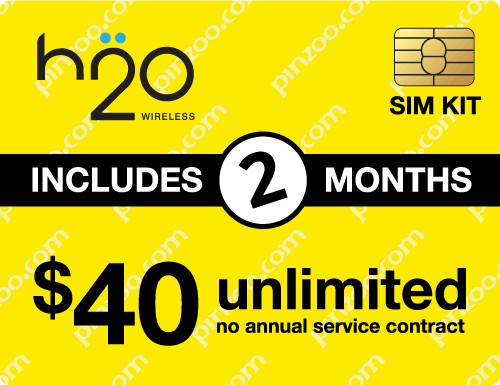 $90.00 H2O Wireless® Prepaid Wireless SIM Cards