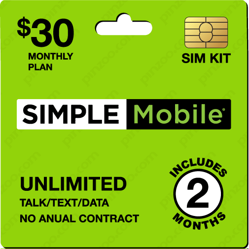 $70.00 Simple Mobile® Prepaid Wireless SIM Cards