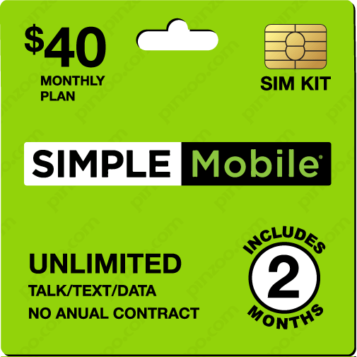 $90.00 Simple Mobile® Prepaid Wireless SIM Cards
