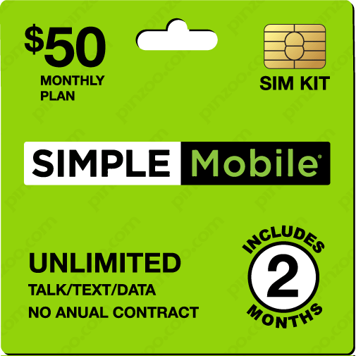 $110.00 Simple Mobile® Prepaid Wireless SIM Cards