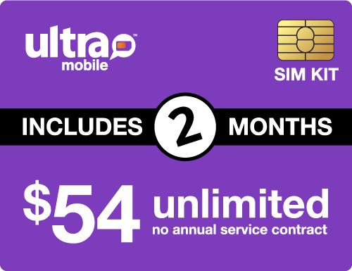 $118.00 Ultra Mobile® Prepaid Wireless SIM Cards