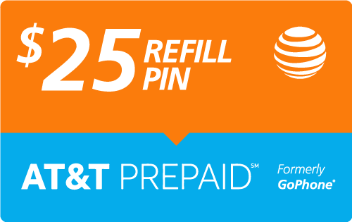 Buy the $25.00 AT&T Go Phone® Refill Minutes Instant Prepaid Airtime | On SALE for Only $24.89