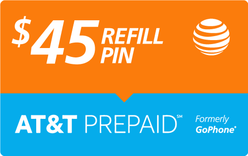 Buy the $45.00 AT&T Go Phone® Refill Minutes Instant Prepaid Airtime | On SALE for Only $44.89