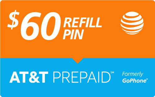 Buy the $60.00 AT&T Go Phone® Refill Minutes Instant Prepaid Airtime | On SALE for Only $59.69