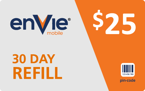 $24.95 Envie Mobile® Refill Minutes Instant Prepaid Airtime