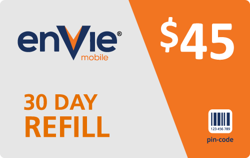 $44.79 Envie Mobile® Refill Minutes Instant Prepaid Airtime