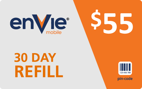 $54.89 Envie Mobile® Refill Minutes Instant Prepaid Airtime