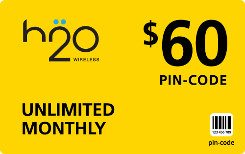 Buy the $60.00 H2O Wireless® Refill Minutes Instant Prepaid Airtime | On SALE for Only $59.79