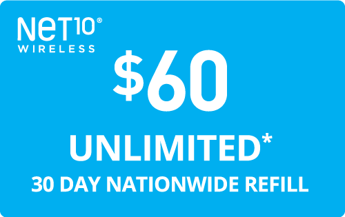 $60.00 Net10® Real Time Refill Minutes