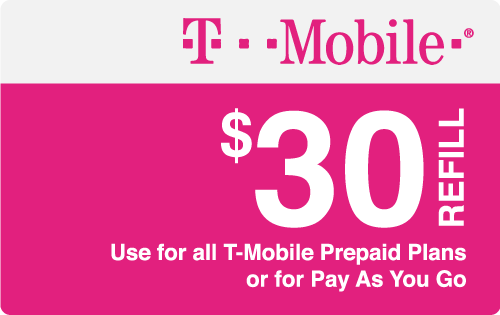 $30.00 T-Mobile® Real Time Refill Minutes