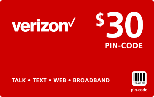 Buy the $30.00 Verizon Wireless® Refill Minutes Instant Prepaid Airtime | On SALE for Only $29.89