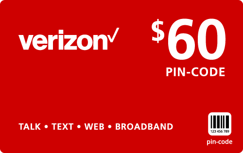 $59.79 Verizon Wireless® Refill Minutes Instant Prepaid Airtime