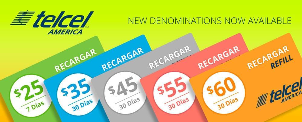 Telcel America Refill - New denominations now available