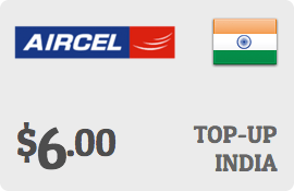 $6.00 Aircel India Prepaid Wireless Top-Up