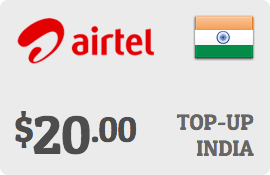 $20.00 Airtel India Prepaid Wireless Top-Up