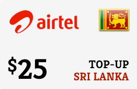 $25.00 Airtel Sri Lanka Prepaid Wireless Top-Up