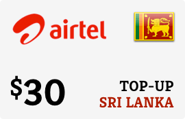 $30.00 Airtel Sri Lanka Prepaid Wireless Top-Up