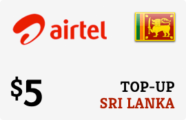 $5.00 Airtel Sri Lanka Prepaid Wireless Top-Up