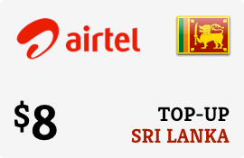 $8.00 Airtel Sri Lanka Prepaid Wireless Top-Up