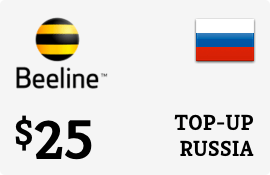$25.00 Beeline Russia Prepaid Wireless Top-Up