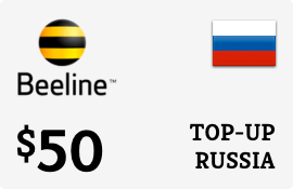 $50.00 Beeline Russia Prepaid Wireless Top-Up