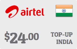 $24.00 Bharti Airtel India Prepaid Wireless Top-Up