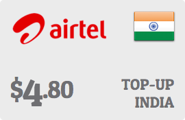 $4.80 Bharti Airtel India Prepaid Wireless Top-Up