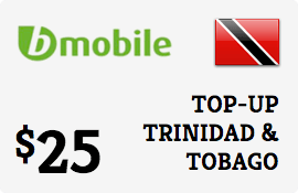 $25.00 bMobile Trinidad & Tobago Prepaid Wireless Top-Up