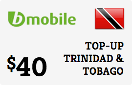 $40.00 bMobile Trinidad & Tobago Prepaid Wireless Top-Up
