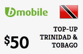 $50.00 bMobile Trinidad & Tobago Prepaid Wireless Top-Up
