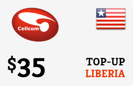 $35.00 Cellcom Liberia Prepaid Wireless Top-Up