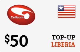 $50.00 Cellcom Liberia Prepaid Wireless Top-Up
