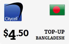 $4.50 CityCell Bangladesh Prepaid Wireless Top-Up